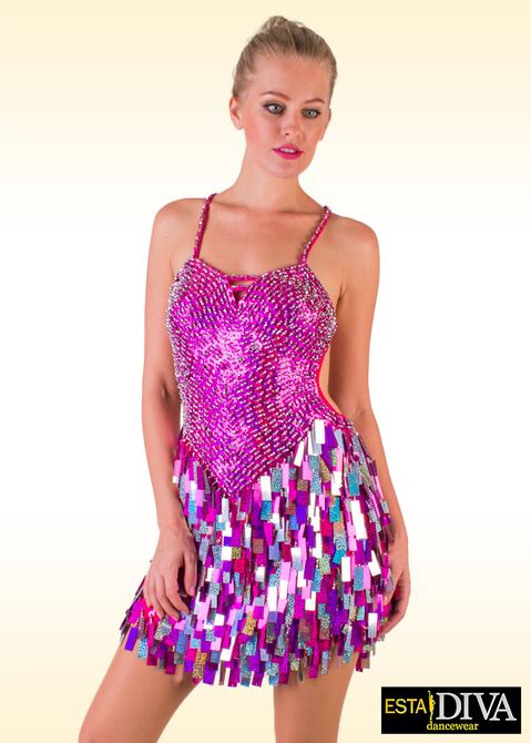 Latin Sequin Dress -  Vestido Fucsia