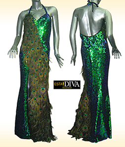 Peacock Feather Dress - Diva Pavone